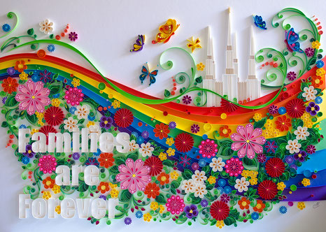 quilling , quilling paper, paper art, art, love, design, love heart, hearts, quilling art, quilling paper art, The Washington Temple, family, families are forever, flowers, leaves, rainbow, butterfly