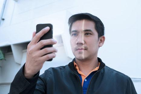 Für die Produktion wird per App eine Gesichts-Scan-Funktion (3D Scan) verwendet.