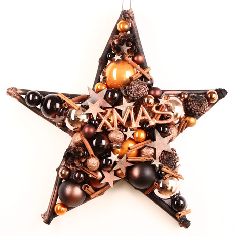 50 cm Stern in kupfer - schwarz mit XMAS Schild aus Metall