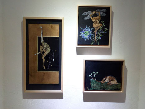 wood, canvas, embroidery, ink, painting, drawing, artwork, figurative, animal, insect, artgallery, exhibition