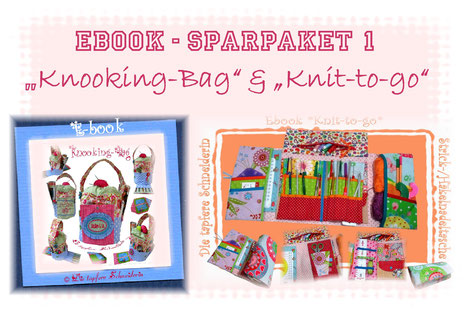 Ebook Set, Knit-to-go- Knooking-Bag, Handarbeitskorb, Nadeltasche, Stricktasche