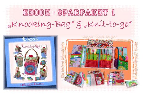 Ebook Set, Knit-to-go- Knooking-Bag, Handarbeitskorb, Nadeltasche, Stricktasche