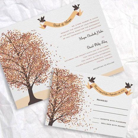 Un faire-part automnale pour vos invités ! Source : www.weddingomania.com