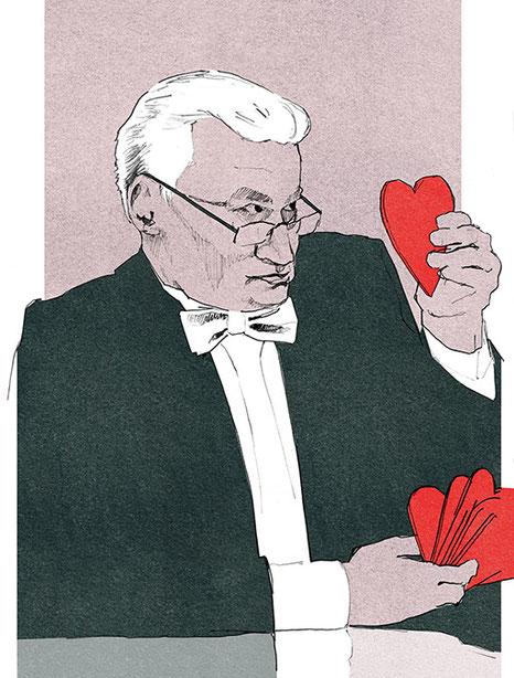 Tobias Willa; Basel; Illustration; Zeichnung; Dessin; Herz; Coeur; Smoking; Amour; Liebe; Aquarell; Grafik; Design; Portrait; Personale