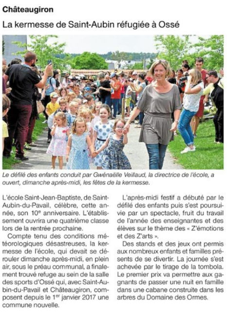 Kermesse Ecole Saint Jean Baptiste Saint Aubin du Pavail Chateaugiron