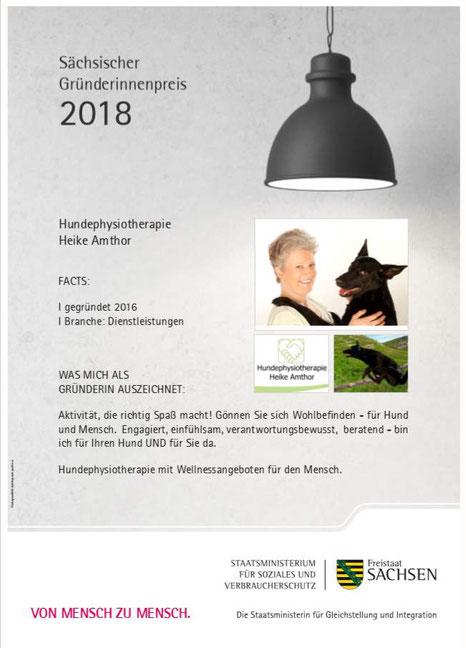 Gründerinnenpreis Sachsen 2018 Hundephysiotherapie Heike Amthor