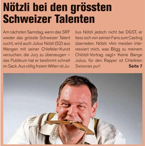 Julius Nötzli Chlefele Die grössten Schweizer Talente Obersee Nachrichten