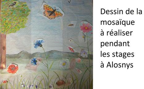 Dessin de la mosaïque au jardin d'Alôsnys