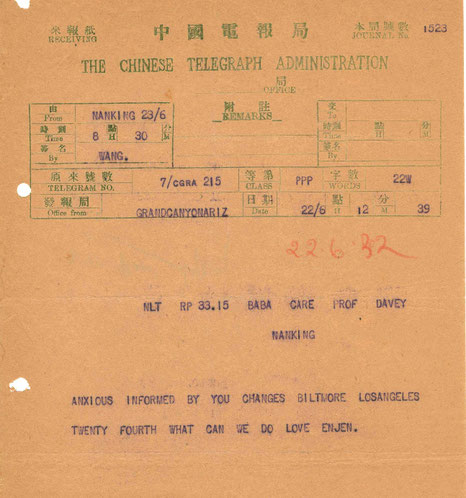 Telegram received by Meher Baba from c/o Herbert Davy in Nanking, China. Courtesy of AMB Archives, India.