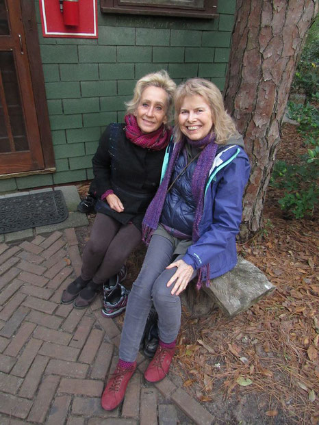Pamela with Terry Barton at the Lagoon Cabin, Meher Center, Myrtle Beach, SC.