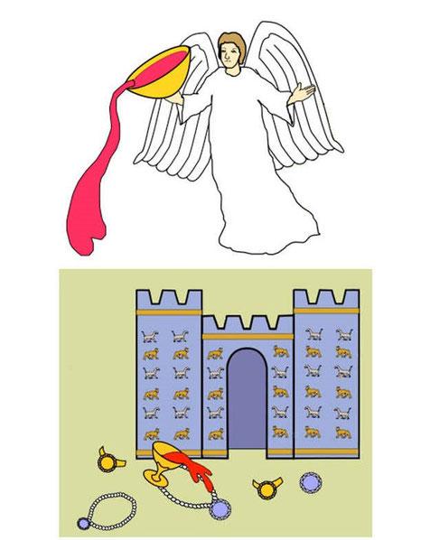 Babylone la grande a été condamnée par Jéhovah Dieu Jéhovah Dieu qui s'est souvenu de ses crimes. Babylone la grande recevra le double salaire de ses actes et autant de tourment et de deuil qu'elle a fait la fière et s'est plongée dans le luxe.