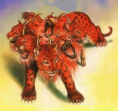 La bête écarlate à 7 têtes et 10 cornes persécutera les chrétiens fidèles livre de l'Apocalypse