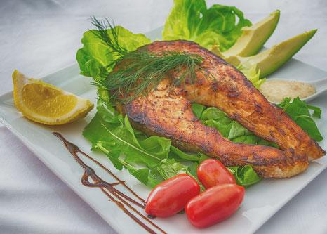 Minimalist Biohacker Unprocessed Food Salmon on Salad