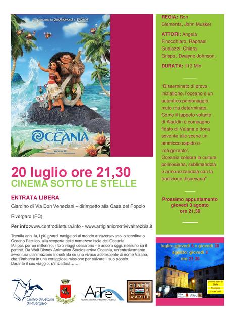 Rivergaro OCEANIA 20 luglio ore 21,30 (circa) ENTRATA GRATUITA giardino di via don Veneziani