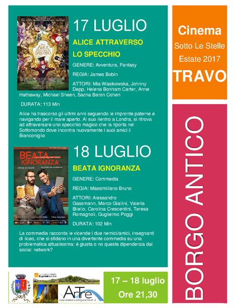 17 -18 luglio cinema sotto le stelle TRAVO borgo antico