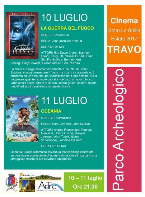 10-11 luglio - cinema sotto le stelle - parco archeologico Travo