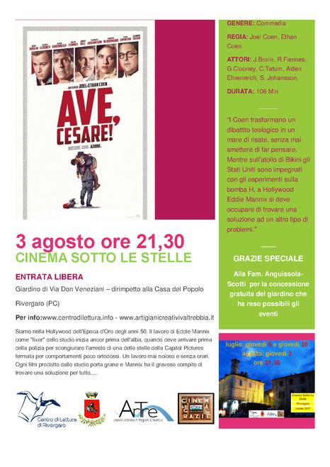 AVE, CESARE! 3 agosto ore 21,30 (circa) ENTRATA GRATUITA giardino di via don Veneziani (dirimpetto Casa del Popolo)