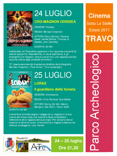 Inserisci sottotitolo:  24-25 luglio cinema sotto le stelle parco archeologico TRAVO