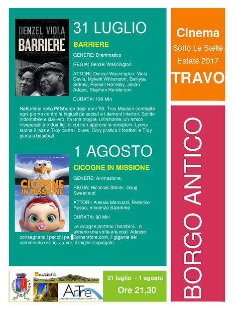 31 luglio - 1 agosto Cinema sotto le stelle TRAVO borgo antico