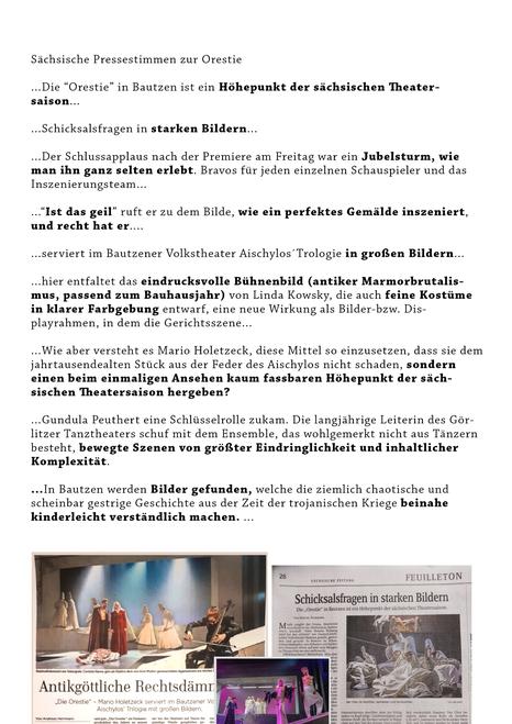 """Sächsische Pressestimmen zur """"Orestie"""" in Bautzen. Mario Holetzeck, Linda Kowsky, Gundula Peuthert. Tolles Team. Großartige Schaupieler."""