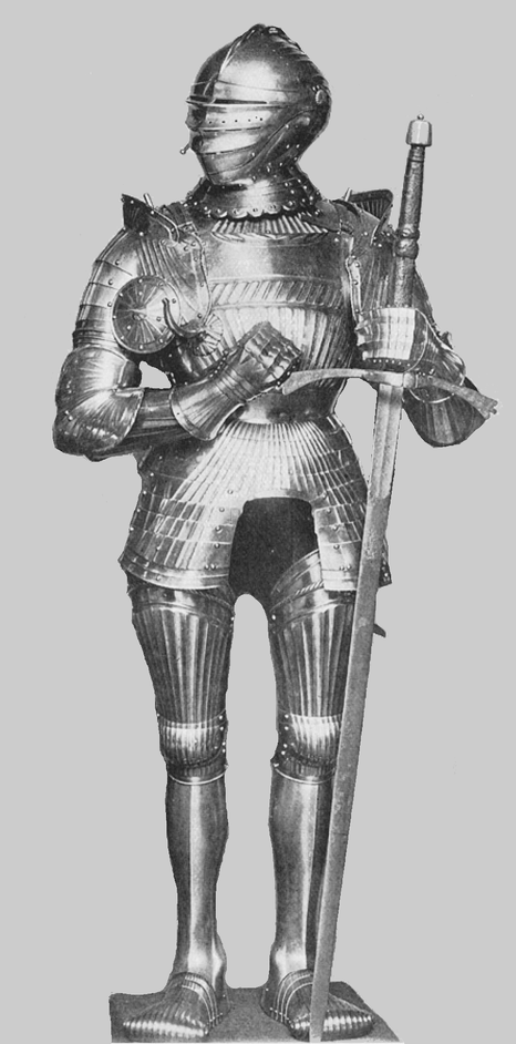 Suit of Maximilian Fluted Armor. Belonging to Mr. Percy Macquoid