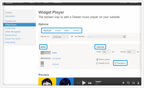 Définir les options du widget deezer