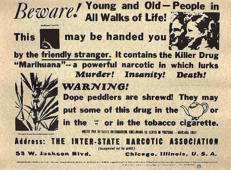 Annuncio pubblico contro la cannabis distribuito dal 1935 dal Federal Bureau of Narcotics