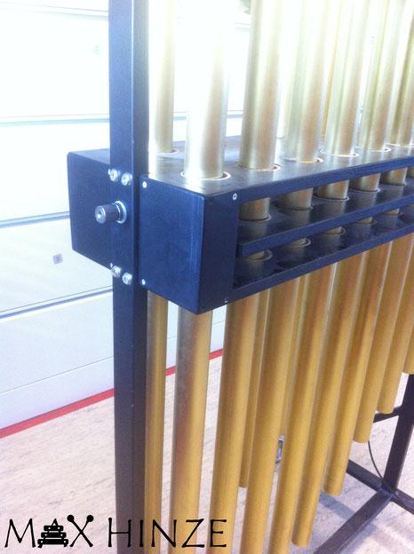 Dämpfermechanismus. selbst gebaute Röhrenglocken, DIY tubular bells, Max Hinze