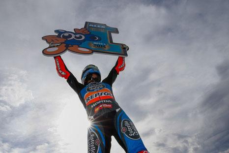 Moto3 - Alex Marquez feiert seinen WM-Titel in Valencia 2014.