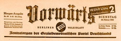 Kopf der SPD-Parteizeitung, 1933