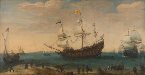 """The Mauritius and other East Indiamen Sailing out of the Marsdiep"" Hendrik Cornelisz Vroom, Oil on canvas, c.1600 - c.1630. Rijks Museum,  Gift of J.W. IJzerman, The Hague."