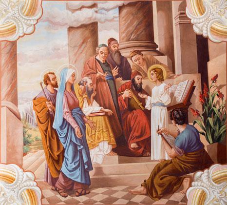 Jesus lehrt im Tempel, Fresko von Jozef Antal aus dem Jahr 1963 in der St. Michael-Kirche in Sebechleby in der Slowakei