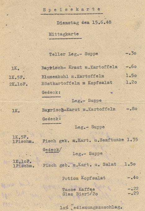 Hansa-Haus: Speisekarte von 1948