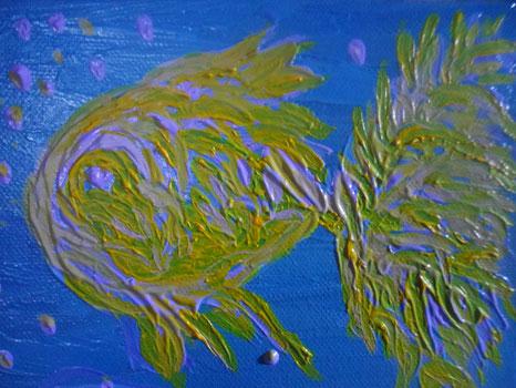 MAMMA, MI DISEGNI UN PESCE? - 2011 olio su tela 13 x 18