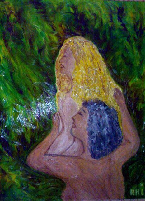 FALLING IN LOVE - 2010 olio su tela 45 x 75