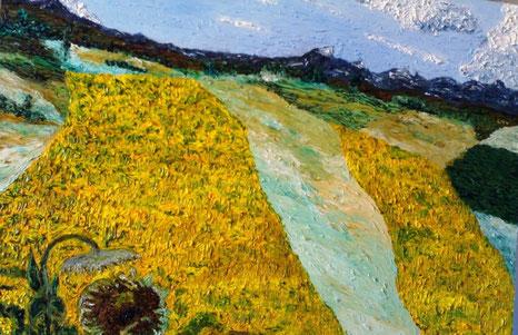 LE COLLINE DEI GIRASOLI - 2008 olio su tela 45 x 75