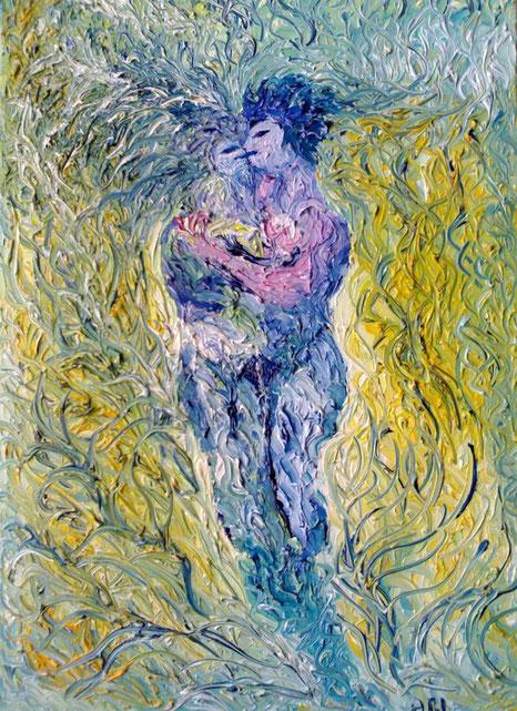 IL BACIO DEL CREATO -  2011 olio su tela 35 x 45