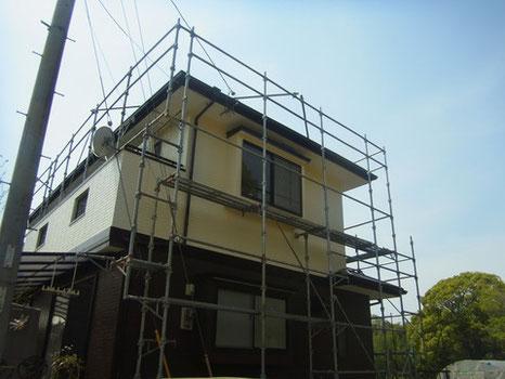 熊本K様家の外壁塗装完成。ブラウン茶色とクリームの外壁。