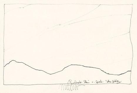 Josef Taucher, Redender Stein, Totes Gebirge Nr. 136, 1987, Stahlfederzeichnung, Tusche auf Papier, 28 x 42 cm © J. Taucher