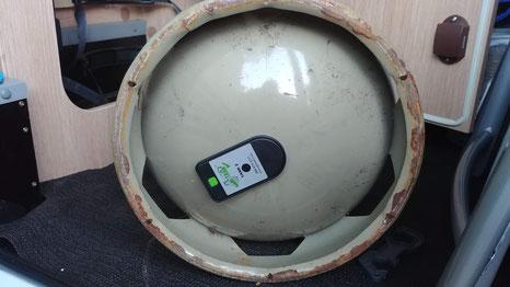 Stahlflasche mit montiertem GAS Bluetooth Sensor