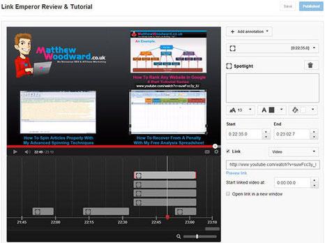 YouTube Editor für Anmerkungen: Die Oberfläche des Editors