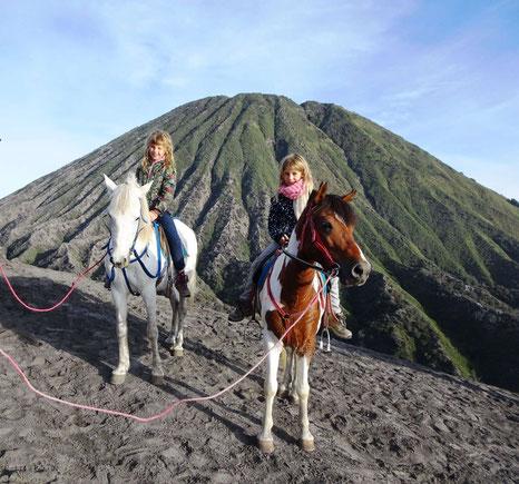 Paardrijden bij de Bromo vulkaan op oost Java in Indonesie