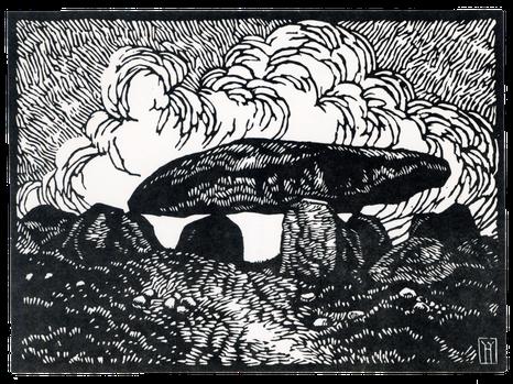 Steinkammer von Stöckheim, Altmark, Holzschnitt von Haye W. Hansen, wahrscheinlich aus den 1930er Jahren