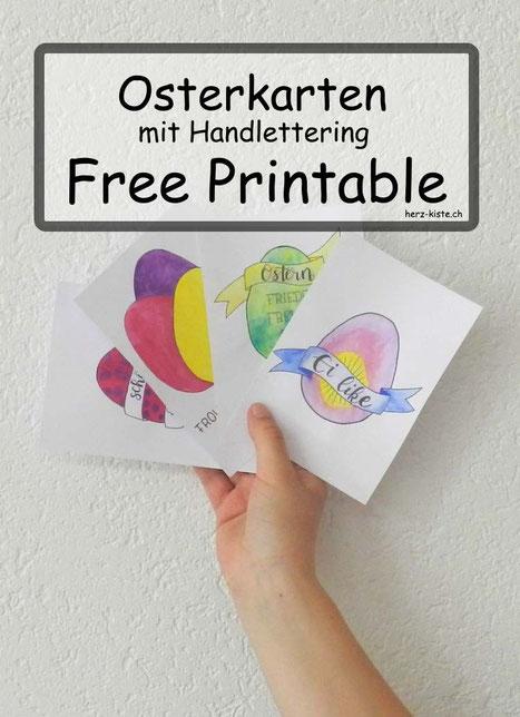 DIY Osterkarten im Handlettering Stil: Free Printable für dich! Einfach ausdrucken, bemalen und anderen mit einer Karte eine Freude machen.