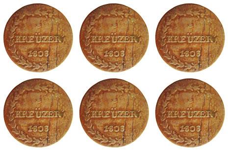 """6 """"Kreüzer"""" aus dem Jahre 1808, dem Geburtsjahr von Louis Napoleon"""