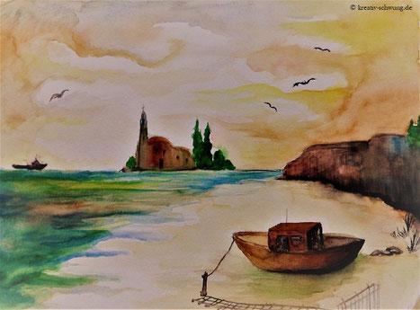Landschaft mit dem Boot