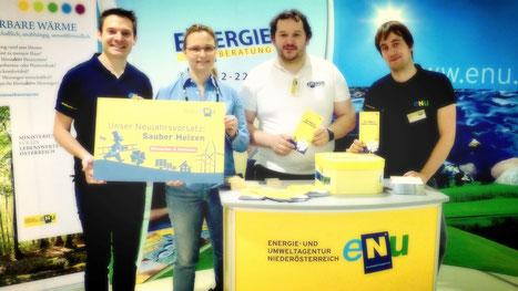 Martin Ruhrhofer, BA, Leiter Abteilung Gemeinde eNu;  Beratungskundin, Ing. Mag. Franz Figl, Energieberater der eNu, David Obergruber, Promotor.