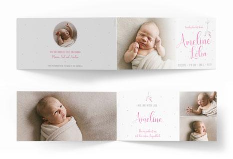 Fahrradanhänger Geburtskarte mit Velo Schweiz zu dritt z viert Geburtsanzeige kartendigns