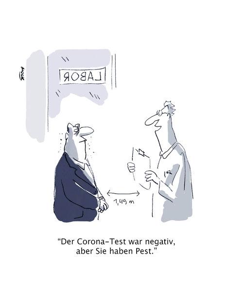 Cartoon zum Thema Corona Test Mindestabstand Labore