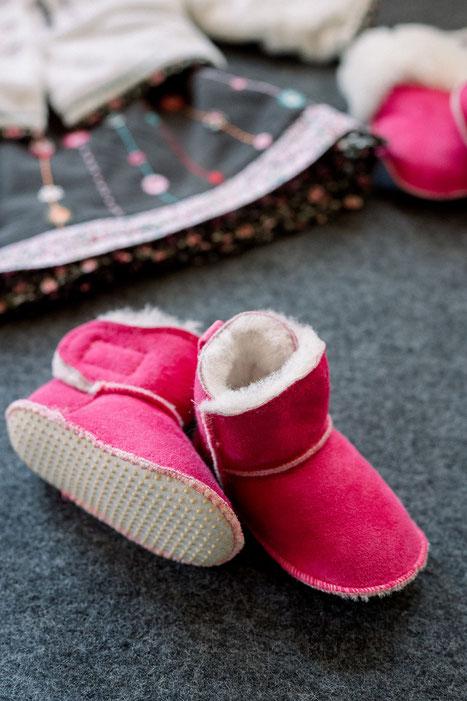 chaussons fille en peau de mouton fourré peau lainée rose fushia only mouton